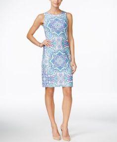 Charter Club Petite Printed Sleeveless Sheath Dress, Only at Macy's | macys.com