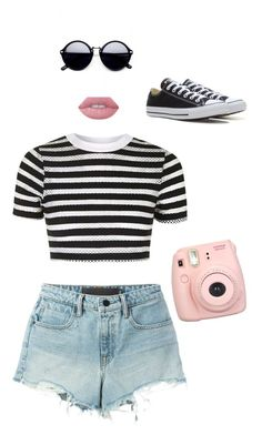 """""""Untitled #1"""" by sunnysideup-xd on Polyvore featuring Topshop, T By Alexander Wang, Lime Crime, Fujifilm and Converse"""