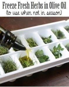 Try this Tuesday: Freeze your fresh herbs in olive oil to eliminate waste & unnecessary trips to the grocery store!