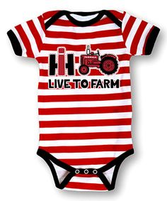 Look what I found on #zulily! Red & White Stripe 'Live to Farm' Bodysuit - Infant #zulilyfinds