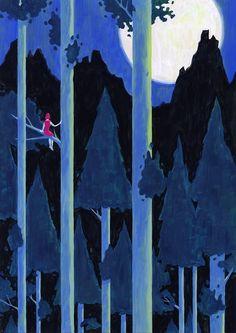イラストレーション 森林 夜 illustration forest night