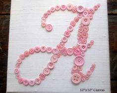 Personalized Baby Girl Nursery Button Art by letterperfectdesigns