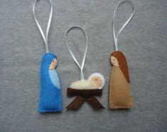 Navidad fieltro adornos con María, José y niño Jesús