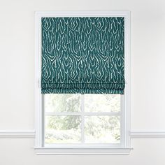 Teal-Animal-Print-Roman-Shade,-Flat-Front
