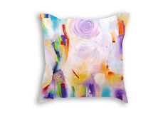 Pillow cover 18x18 - Abstract painting - Colorful pastel decorative pillows - Light colors cushion case - Pastel pillow case - Fine art print cushion
