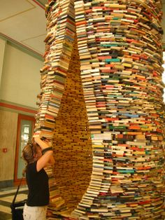 Inpsiration for Sandman Book Company: Book art Sculpture in Prague. Love it . I'm sure I have enough books for this