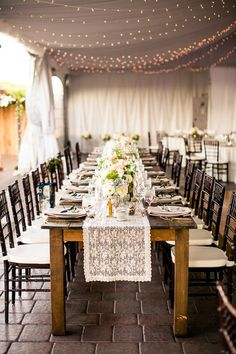 String lights, lace runners, mercury candleholders and small bouquets make an intimate setup for a #vineyard wedding! {Kreate Photography & Design}