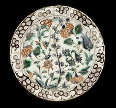 "Iznik ""storm in a teacup"" design pottery dish, Turkey, 17th century."