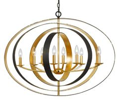 Eight Light Bronze and Gold Sphere Chandelier