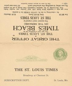 The St. Louis Sun Times Newspaper offering land in Times Beach Missouri with a subscription to their news paper.
