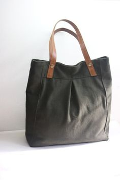 Last one  Juliet tote  forest green with caramel by christystudio