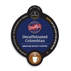 Timothy's Decaf Columbian Coffee Keurig Vue Portion Pack, 32 Count