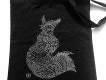 torba na zakupy/ na ramię/płócienna motyw *lisica*