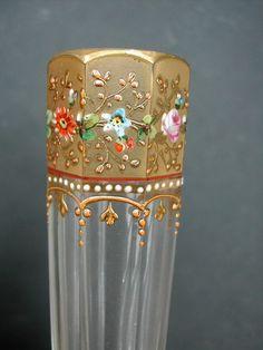 eBay | Paire de Vases en cristal de Bohème doré et émaillé