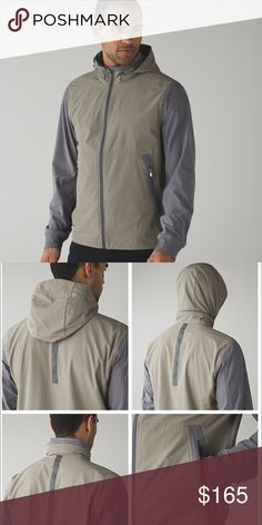 Lululemon ambo jacket water resistant 4way stretch Lululemon - men's medium. Gently worn only a couple of times. Still in great condition. Track jacket with water resistant shell. Four way stretch. Color is soft Earth/slate (gray/tan). Zipper under hood to tuck away or leave out. Any questions - feel free to leave a comment below. lululemon athletica Jackets & Coats Performance Jackets