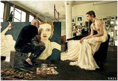 Annie Leibovitz, Vogue, December 2008; Natalia Vodianova with Francesco Clemente