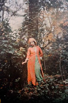 Color story inspired by this 1910 Autochrome: bright orange accented with jade green, pale coral, coffee brown, and beige