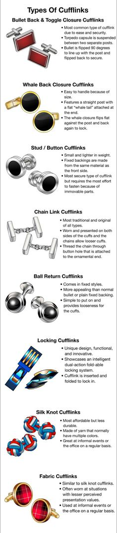 A visual glossary of cufflinks Via . . . . . der Blog für den Gentleman - www.thegentlemanclub.de/blog