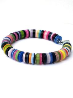 Bracelet with buttons. Handmade wristband blue lime by PerElle, €10.95
