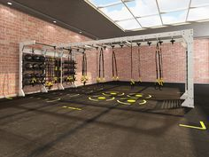 Get inspired! See conceptual Gym Rax® configurations and our featured systems in action! Trx Gym, Crossfit Gym, Gym Workouts, Home Gym Garage, At Home Gym, Calisthenics Gym, Outdoor Gym, Outdoor Fitness, Dream Gym