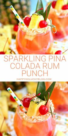 Sparkling Pina Colada Rum Punch - #summercocktails - If you love pina coladas, you're going to love this Sparkling Pina Colada Rum Punch. This delicious cocktail combines sparkling wine with pineapple juice and coconut rum making it the perfect summer cocktail!... Pina Colada Cupcakes, Pina Colada Rum, Best Summer Cocktails, Refreshing Cocktails, Easy Cocktails, Rum Cocktail Recipes, Cocktail Drinks, Alcohol Recipes, Drinks Alcohol