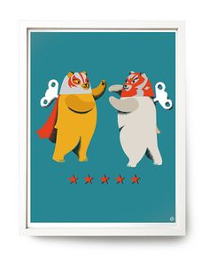 Lucha Libre! :} Mexican Wrestling Bears - print by Nellie Ryan