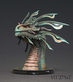ArtStation - Zhaedrass the Cunning - Dragon bust, Winton Afric Forest Creatures, Wild Creatures, Magical Creatures, Fantasy Creatures, Creature Concept Art, Creature Design, Types Of Dragons, Zbrush, Dragon Artwork