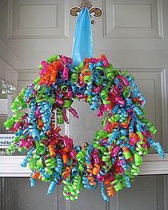 Rainbow ribbon party wreath