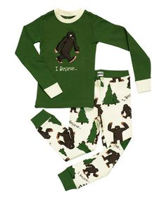 Another great find on #zulily! Green 'I Believe...Bigfoot' Pajama Set - Toddler & Boys #zulilyfinds