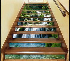 Falls Stream 38 Stairs Risers Decoration Photo Mural Vinyl Decal Wallpaper US