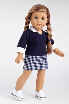 DreamWorld Collections School Girl - Navy blue blouse with plaid skirt (shoes not included) - 18 Inch American Girl Doll Clothes : Casual Doll Outfits