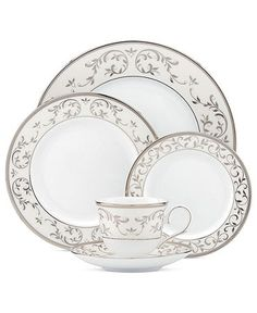 A fresh twist on an all-time favorite. Lenox reinvents Opal Innocence dinnerware, enhancing the delicate vine motif with glistening silver and broader, more luxurious platinum bands. Enamel dots add a