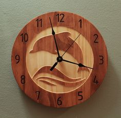 Dolphin clock Animal clock Nature clock by BunBunWoodworking