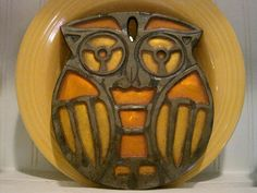 Vintage Orange and Yellow Resin and Metal Owl Trivet