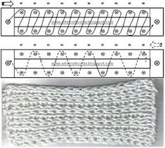 Loom Knitting stitches – work and diagram