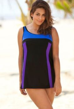 d2461070d2 Delta Burke Color Block Plus Size Swimdress Plus Size Swimwear - Black -  Size 22W