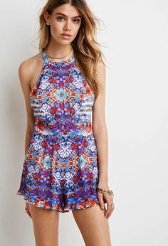 Abstract Print Halter Romper #thelatest