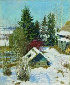 LAST SNOW, Igor Emmanuilovich Grabar (1871~1960) | Russian Post-Impressionism