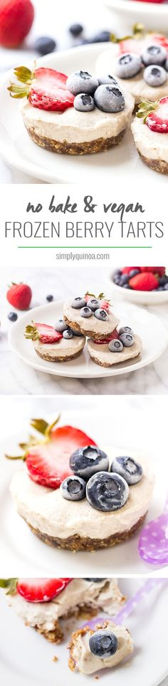 French Delicacies Essentials - Some Uncomplicated Strategies For Newbies Mini Vegan Berry Tarts No-Bake Frozen Berry Tarts With A Creamy Coconut Filling And A Pecan-Date Crust It's The Ultimate Summertime Treat Vegan Simply Quinoa Vegan Dessert Recipes, Tart Recipes, Vegan Sweets, Healthy Desserts, Delicious Desserts, Frozen Desserts, No Bake Desserts, Cupcakes, Ice Ice Baby