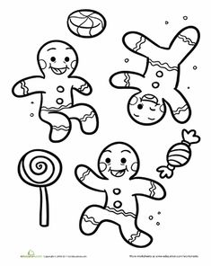 Worksheets: Gingerbread Coloring Page (Action Words - Running, Jumping, Flipping, etc.)
