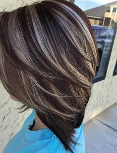 Dark brown hair color is applied by different people these days as it look good. Trending Dark Brown Hair Color Ideas 2020 With Highlights looks great. Hair Color And Cut, Haircut And Color, Brown Hair Colors, Hairstyle Color, Hairstyle Ideas, Brunnete Hair Color, Hair Colors For Fall, Brown Hair Going Grey, Color For Short Hair