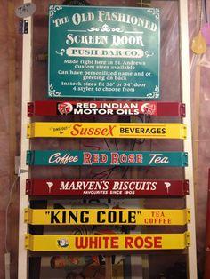 Vintage Type Advertising Screen Door Hardware Push Bar   eBay