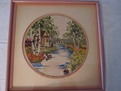 Embroidery Crewel Landscape Handmade  Framed  Beautifully Hand  Stitched    1978 Signed  Vintage by QuiltingbyDiamanti on Etsy