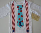 Boy's Birthday Onesie or T-Shirt Suspenders and Bow Tie Bright Colors Cherry Red Lime Green Turquoise Orange. $20.50, via Etsy.