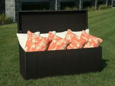 Storage Box For Garden Chair Cushions Outside Storage Bench, Patio Storage, Outdoor Storage, Storage Boxes, Storage Ideas, Storage Chest, Garden Chair Cushions, Garden Chairs, Outdoor Cushions