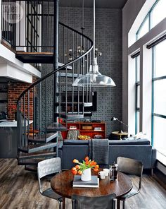 Yet another sweet loft with industrial accents...!