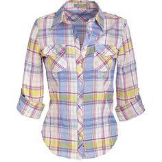 Mackenzie Plaid Shirt ($5.99) ❤ liked on Polyvore featuring tops, shirts, blusas, plaid, shirts & blouses, button down top, long sleeve plaid shirt, button down shirts, plaid button up shirts and madras shirt