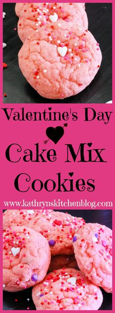 Valentine's Day Cake Mix Cookies// Kathryn's Kitchen Blog