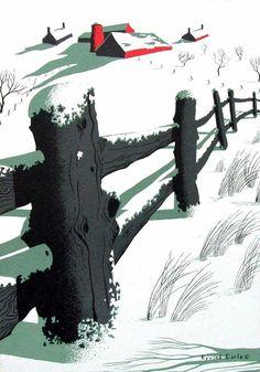 farm and fence Art And Illustration, Gravure Illustration, Graphic Novel, Graphic Art, Eyvind Earle, Christmas Art, Vintage Christmas, Modern Christmas, Snow Scenes