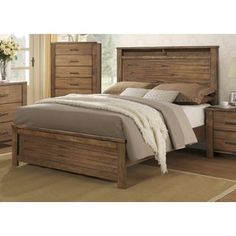 Brayden Complete Satin Wood Panel Bed | Overstock.com Shopping - The Best Deals on Beds